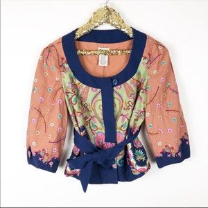 Anthropologie Elevenses Cropper  Paisley Jacket